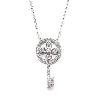 Pia Hallstrom 0.21ct Diamond Set Key Pendant 18k White Gold Necklace