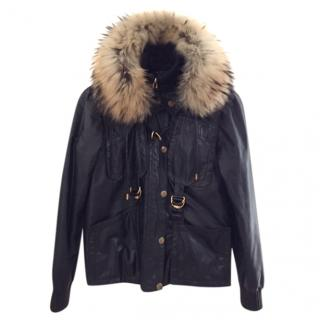 Gucci fur trimmed leather jacket