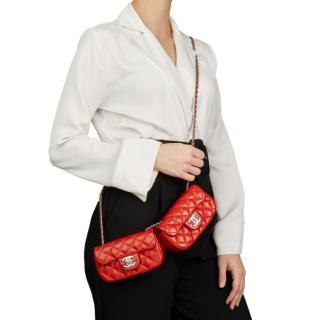 Chanel Red Quilted Lambskin Double Mini Flap Bag