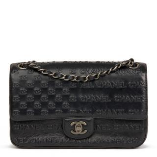 Chanel Black Embossed Calfskin Paris-Dallas Classic Single Flap Bag