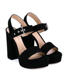 Gianvito Rossi Gina Black Suede Platform Sandals