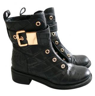 Giuseppe Zanotti Blok 40 Black Gator Leather Biker Boots
