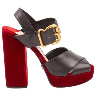Prada Red & Black Velvet & Leather Sandals
