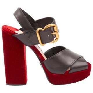 Prada Red & Black Velvet & Leather Sandals