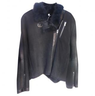 Nicole Farhi Shearling Biker Jacket