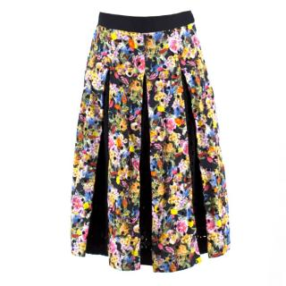 Mary Katrantzou Warley Floral Crochet Pleated Midi Skirt