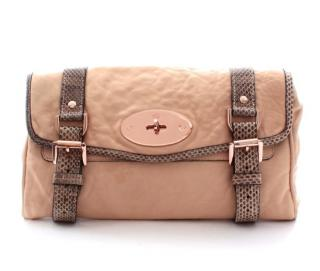 Mulberry Alexa Python-Trim Leather Clutch Bag