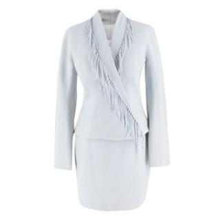 Mugler fringed-lapel wool-blend powder blue suit