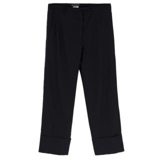 Vintage Ann Demeulemeester straight-leg cropped tuxedo trousers