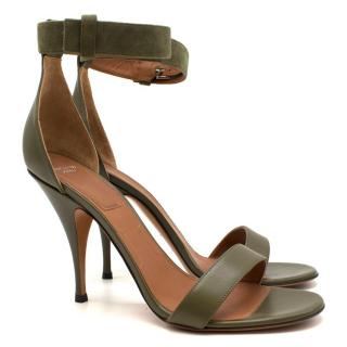 Givenchy green leather sandals