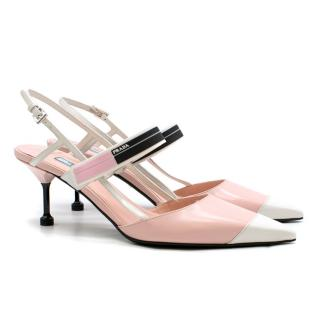 Prada blossom pink pointed-toe leather pumps
