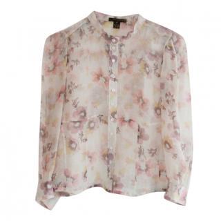 Louis Vuitton AW06 Floral Silk Chiffon Corset Hem Blouse