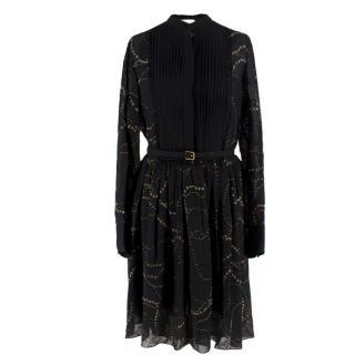 Chloe Black Silk Belted Dress
