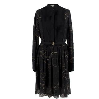 Chloe Black Silk Belted Dress