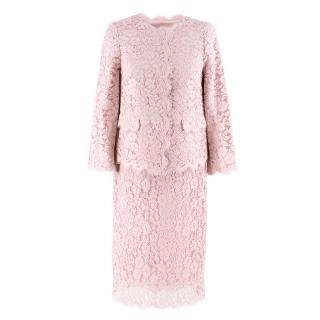 Dolce & Gabbana Blush Pink Lace Jacket and Skirt Set