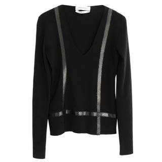 Yves Saint Laurent Pilati Faux Snake Trim Black Fine Knit Wool Sweater