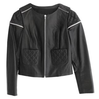 Chanel AW11 Black Leather Quilted & Silver Trim Crop Biker Jacket