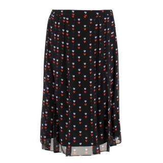 Christopher Kane Black Heart Print Midi Skirt