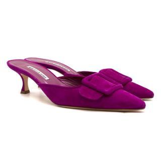 Manolo Blahnik Purple Maysale 50 Suede Pumps