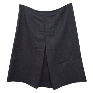Prada Silk Wool Mix A-Line Unlined Pleated Knee Length Skirt