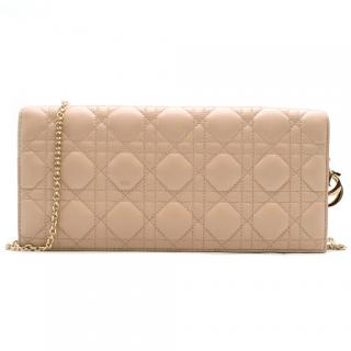 Dior Lady Dior Cannage Leather Nude Clutch