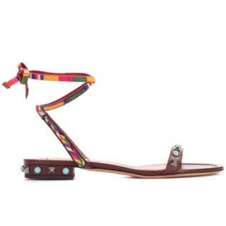 Valentino Rockstud Rolling wrap-around leather sandals