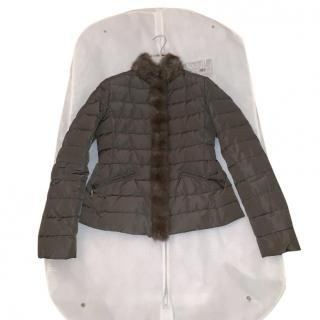 Moncler fur trim taupe bomber jacket