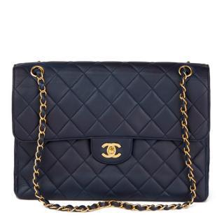 Chanel Navy Lambskin Vintage Jumbo Double Sided Classic Flap Bag