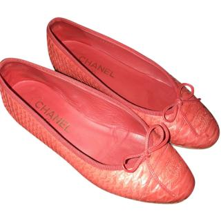 Chanel Red Python Ballet Flats