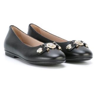 Young Versce Black Medua Head leather ballet shoes