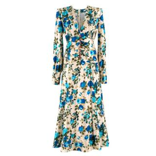 Gucci rose-print silk-twill midi dress - New Season