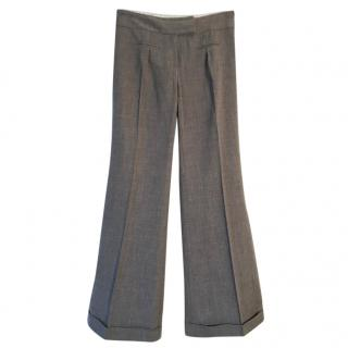 DIANE VON FURSTENBERG Cece wool grey marl stretchy wide leg trousers