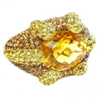 Chilcelle Italian Citrine Cocktail Ring 18ct Gold