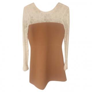 Sandro lace & tan mini dress
