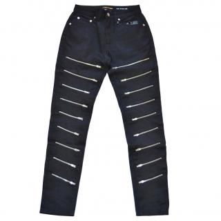 Saint Laurent black multi-zipped jeans