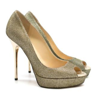 Jimmy Choo Gold Platform Pumps