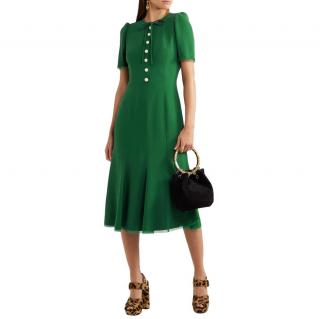 Dolce & Gabbana green button-down cady midi dress