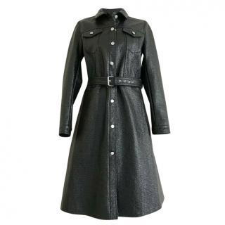 MM6 Maison Margiela Black Glossed Faux Patent Textured Coat