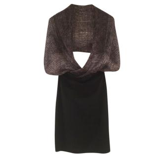 Sarah Pacini Black Straight Skirt W/ Loose Knit Shoulder shawl