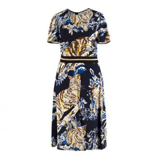 Stella McCartney Navy Floral Cat Print Dress
