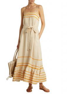 Lisa Marie Fernandez beige tie-waist linen dress