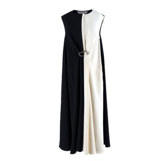 Sportmax Black and White Gathered Hook Dress