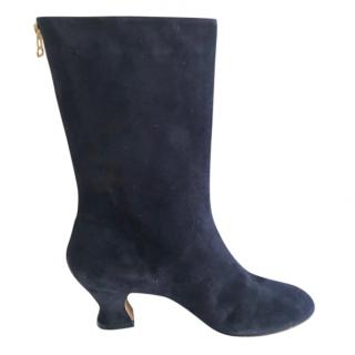 Marni Navy Suede Boots