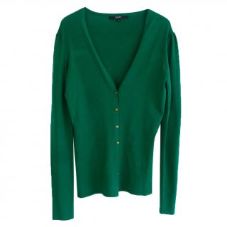 Gucci SS06 Emerald Green Fine Wool Mini Gold Button Cardigan