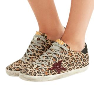 Golden Goose Leopard & Glitter Superstar Trainers