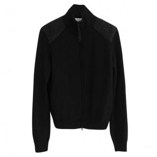 Valentino Thick Black Wool/Cashmere Hand Beaded Track Jacket