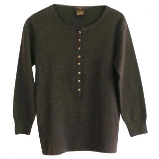 Louis Vuitton Brown Cashmere Mini Gold Button 'Sweatshirt' Jumper