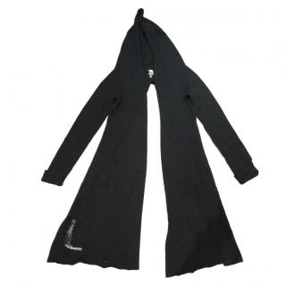 Sarah Pacini Baby Alpaca Charcoal Grey Split Back Hood Cardigan