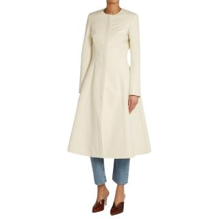 Brock Collection white collarless faille coat
