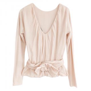 Louis Vuitton Cashmere & Silk Puff Ball Hem Bow Cummerbund Top